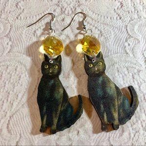 OOAK black cat image earrings yellow crystals